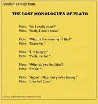 comic about lost monologues of Plato