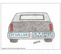 comic about Jesus lives bumper stickers