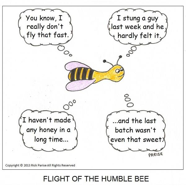 comic about a thinking bee in flight